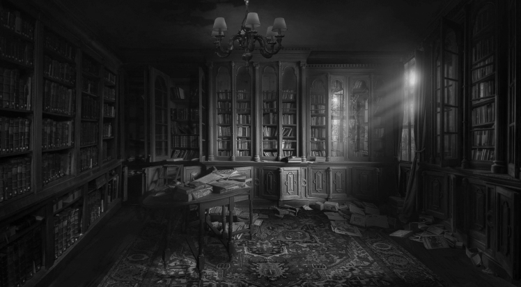 Creepy Library BW 01