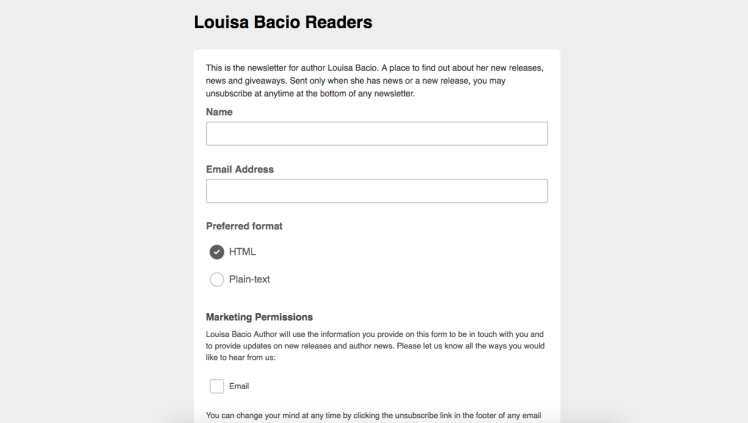 Subscribe to Louisa Bacio's Newsletter!