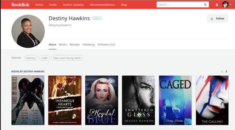 Follow Destiny Hawkins on BookBub