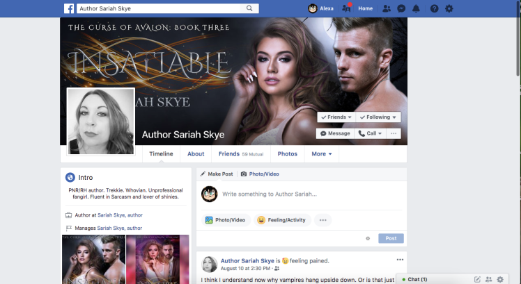 Follow Sariah Skye on Facebook!