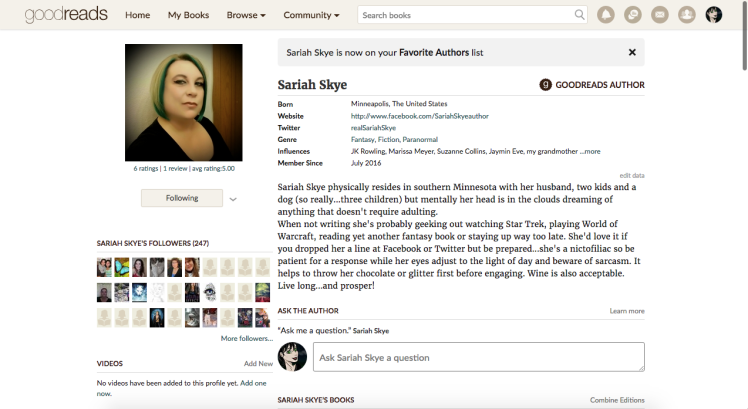Follow Sariah Skye on GoodReads!