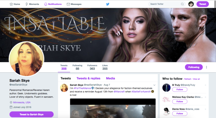 Follow Sariah Skye on Twitter!